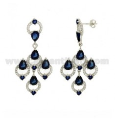 A GYPSY EARRINGS WITH SWAROVSKI WHITE AND BLUE TIT AG RHODIUM 925