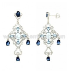 A GYPSY EARRINGS WITH SWAROVSKI WHITE, BLUE AND BLUE TIT IN RHODIUM AG 925