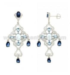 A Gypsy Ohrringe mit SWAROVSKI Weiß, Blau und Blaumeise im Rhodium AG 925