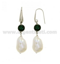 SCARAMAZZE EARRINGS WITH PEARLS AND BALL 10 MM WITH SWAROVSKI GREEN TIT 925