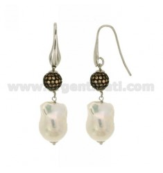 SCARAMAZZE EARRINGS WITH PEARLS AND BALL 10 MM WITH SWAROVSKI Champage TIT 925