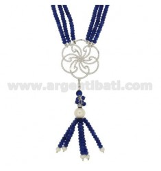 NECKLACE CM 50-53 BLUE QUARTZ WITH CENTRAL WITH PAVE 'OF ZIRCONIA IN AG RHODIUM TIT 925 ‰