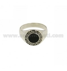 14 MM ROUND RING WITH GREEK BLACK ENAMEL IN RHODIUM AG TIT 925 ‰ SIZE 20