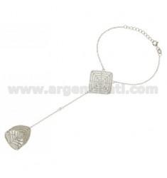 MIS 14 Ring mit Diamant Kuss 29x29 mm mit PAVE &39von Zirkonoxid im Rhodium AG TIT 925