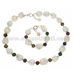 NECKLACE CM 50-55 AND BRACELET CM 19-22 IN SCARAMAZZE PEARLS AND SPHERES MM 10 WITH ZIRCONIA PAVES VARIOUS COLORS IN AG TIT 925