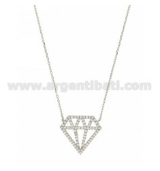 NECKLACE WITH DIAMOND CABLE MM 23X25 AND ZIRCONIA RHODIUM IN AG TIT 925 ‰ CM 40.45