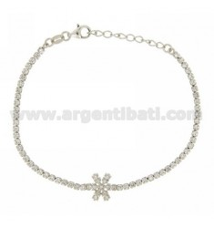 TENNIS BRACELET WITH SNOWFLAKE AND ZIRCONIA IN RHODIUM AG TIT 925 CM 17.20