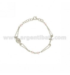 ROSARY BRACELET BABY CABLE WITH STONE faceted MM 2,5X3,5 ROSA 15 CM SILVER RHODIUM 925