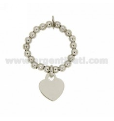 BALL SPRING RING 3 MM WITH HEART PENDANT 11X10 MM IN AG RHODIUM PLATE TIT 925 ‰