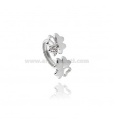 DOUBLE FOUR-LEAF CLOVER RING MM 12X12 WITH INSERT IN PAVE 'OF ZIRCONIA IN AG RHODIUM-PLATED TIT 925 ‰ ADJUSTABLE SIZE