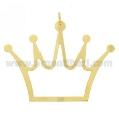 CROWN CHARM LASER CUTTING THROUGH MM 45X60 SILVER GOLD PLATED TIT 925 ‰