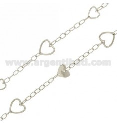 OVAL NECKLACE SWEATER AND HEARTS 100 CM IN RHODIUM AG TIT 925