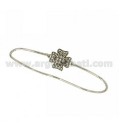 PALM BRACELET WITH FOUR-LEAF CLOVER MM 16X16 WITH ZIRCONIA PAVE IN AG RHODIUM-PLATED TIT 925 ‰