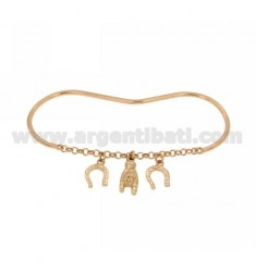 PALM BRACELET WITH ROLO 'AND SCARAMANTIC PENDANTS IN AG ROSE GOLD PLATED TIT 925 ‰
