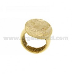 25x19 MM OVAL RING WITH GOLD PLATED LADY IN AG TIT 925 SIZE ADJUSTABLE