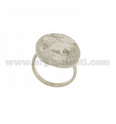25x19 MM OVAL RING WITH LADY IN RHODIUM AG TIT 925 SIZE ADJUSTABLE
