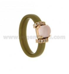 RING IN GOLDEN RUBBER WITH APPLICATION IN ROSE GOLD PLATED AG TIT 925 ‰ ZIRCONIA AND STONES HYDROTHERMAL ASSORTED COLORS