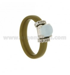 RING IN GOLDEN RUBBER WITH APPLICATION IN RHODIUM AG TIT 925 ‰ ZIRCONS AND STONES HYDROTHERMAL ASSORTED COLORS