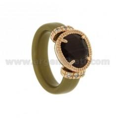 RING IN GUMMI &39GOLD mit Anwendungen in rosé vergoldet AG TIT 925, hydro Zirkonia Steinen und verschiedenen Farben