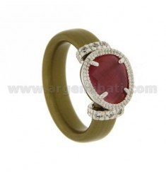 RING IN RUBBER &39GOLD WITH APPLICATIONS IN RHODIUM TIT AG 925, HYDROTHERMAL ZIRCONIA STONES AND VARIOUS COLORS
