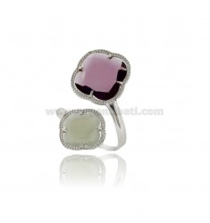 CONTRARY RING SMALL GRAY FLOWER 51 AND BIG PURPLE 13 IN AG RHODIUM TIT 925 ‰ ADJUSTABLE SIZE