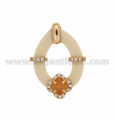 DROP PENDANT WITH RUBBER &39APPLIC. IVORY FLOWER WITH STONES AND HYDROTHERMAL ZIRCONIA SILVER ROSE GOLD PLATED TIT 925