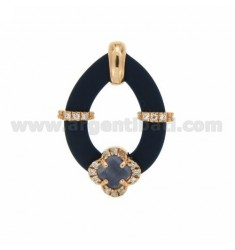 DROP PENDANT WITH BLUE RUBBER AND APPLIC. FLOWER WITH HYDROTHERMAL STONES AND ZIRCONS IN SILVER PLATED ROSE GOLD TIT 925