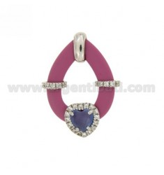 DROP PENDANT WITH FUCHSIA RUBBER AND APPLIC. HEART WITH HYDROTHERMAL STONES AND ZIRCONS IN SILVER RHODIUM TIT 925