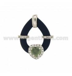 Drop Anhänger MIT GUMMI &39BLUE HEART mit Steinen und Anwendbarkeit HYDROTERMALE und Zirkonia Silber Rhodium TIT 925