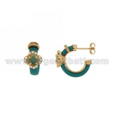 HOOP EARRINGS WITH RUBBER &39APPLIC. TURQUOISE AND FLOWER WITH STONES AND HYDROTHERMAL ZIRCONIA SILVER ROSE GOLD PL TIT 925