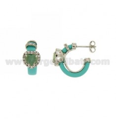 HOOP EARRINGS WITH RUBBER &39TIFFANY GREEN HEART WITH STONES AND APPLIC. HYDROTHERMAL AND ZIRCONIA SILVER RHODIUM TIT 925