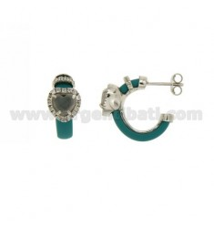 CIRCLE EARRINGS WITH TURQUOISE RUBBER AND APPLIC. HEART WITH HYDROTHERMAL STONES AND ZIRCONS IN SILVER RHODIUM TIT 925