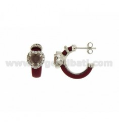 HOOP EARRINGS WITH RUBBER &39APPLIC. MARC AND HEART WITH STONES AND HYDROTHERMAL ZIRCONIA SILVER RHODIUM TIT 925