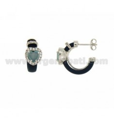 HOOP EARRINGS WITH RUBBER &39BLUE HEART WITH STONES AND APPLIC. HYDROTHERMAL AND ZIRCONIA SILVER RHODIUM TIT 925