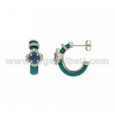 CIRCLE EARRINGS WITH TURQUOISE RUBBER AND APPLIC. FLOWER WITH HYDROTHERMAL STONES AND ZIRCONS IN SILVER RHODIUM TIT 925