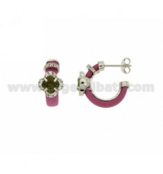 CIRCLE EARRINGS WITH FUCHSIA RUBBER AND APPLIC. FLOWER WITH HYDROTHERMAL STONES AND ZIRCONS IN SILVER RHODIUM TIT 925