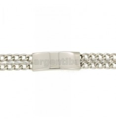 Curb BRACELET WITH A TWO WIRE PLATE 12 MM IN RHODIUM AG TIT 925 ‰ 21 CM