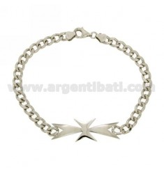 Bracelet Curb MM 6 WITH CROSS OF MALTA IN RHODIUM AG TIT 925 ‰ 21 CM