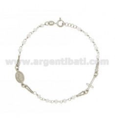 ROSARY BRACELET WITH BALL IN WHITE STONE faceted MM 3,5X3,0 CM 19.20 SILVER RHODIUM 925 ‰