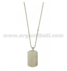 MILITARY MEDAL IN STEEL 40X24 MM SMOOTH WITH BALL CHAIN 2.5 MM 60 CM