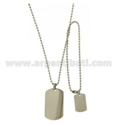 DOUBLE MILITARY MEDAL IN STEEL MM 40X24 AND 24X15 WITH BALL CHAIN MM 2,5 CM 60