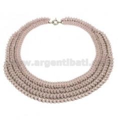 DRAHT UND Kristall Halskette in rosa Licht und Schließen METAL