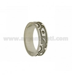 RING BAND RING 6.6 MM WITH INTERNAL scratched REASONS IN SATIN ETHNIC RHODIUM AG TIT 925 ‰ MIS 20