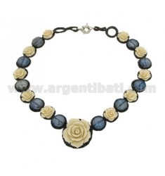 WIRE ROSE NECKLACE STONES AND IVORY RESIN CM 50