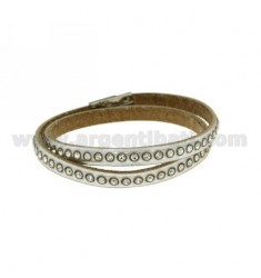 DOUBLE TOUR BRACELET LEATHER SILVER RHINESTONE AND CLOSING STEEL