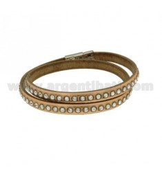 DOUBLE LEATHER BRACELET WITH RHINESTONES ROUND COPPER AND CLOSING STEEL