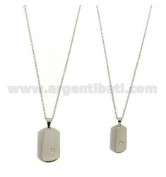 DOUBLE MILITARY MM 30X20 AND 26X15 IN STEEL WITH ZIRCON AND DOUBLE CABLE CHAIN 50 CM