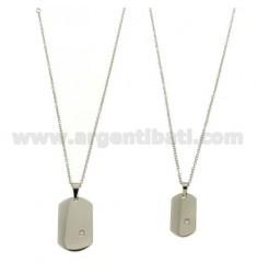 MILITARES Y DOBLE MM 30X20 26x15 ACERO CABLE DE CADENA DOBLE CON ZIRCON Y 50 CM