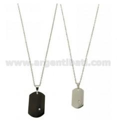 MM MILITAR 30X20 DOBLE PLATEADO rutenio E ACERO 26x15 con circón Y CADENA DOBLE CABLE 50 CM