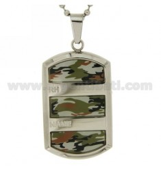 MILITARY CHAIN MM2 CM 50 WITH MILITARY EFFECT PLATE MM 40X26 IN STEEL